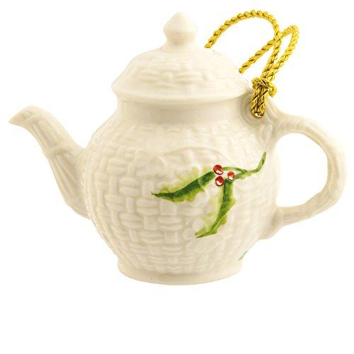 Irish Belleek Miniature Teapot Hanging Ornament