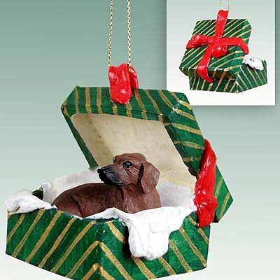 Conversation Concepts Dachshund Red Gift Box Green Ornament