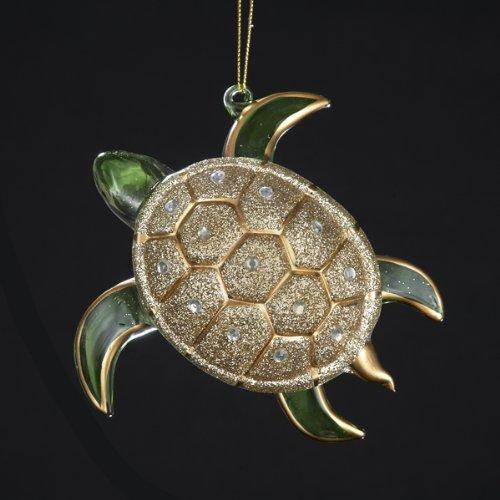 Kurt Adler Glass Glitter Sea Turtle Ornament, 4.75-Inch, Gold/Silver