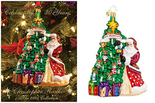 Christopher Radko 30th Anniversary Collection Bundle – Hanging with Joy Glass Christmas Ornament and a Copy of the 2015 Christopher Radko Ornament Collection Catalogue