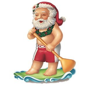 Hawaiian Paddleboarding Santa Christmas Ornament From Hawaii