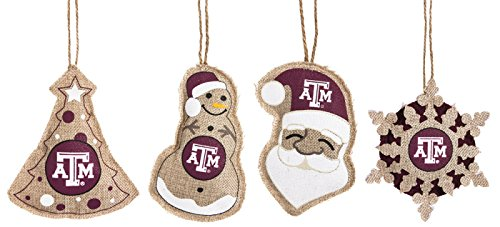 Vintage Burlap Ornament Assortment, Texas A&M, 4 Assort