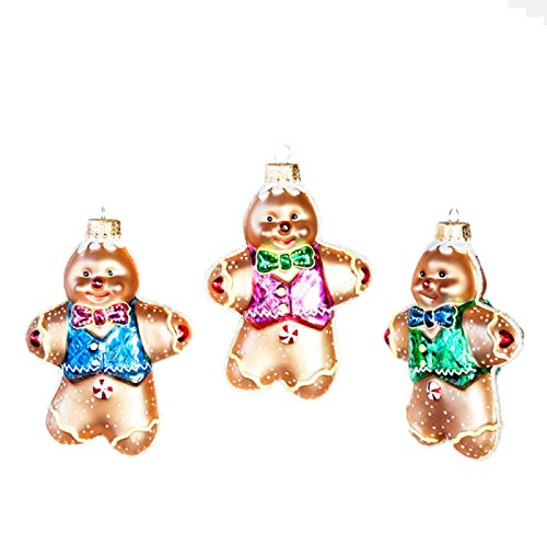 Set 3 3.5″ Glass Gingerbread Man Wearing Vest Cookie Christmas Ornament