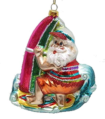 December Diamonds Blown Glass Ornament Surfing Santa