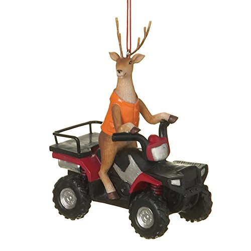 Deer Hunter Buck on ATV Four Wheeler Resin Stone Christmas Tree Ornament
