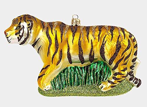 Tiger Wildlife Animal Polish Mouth Blown Glass Christmas Ornament