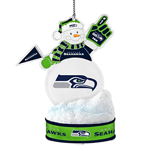NFL Seattle Seahawks LED Snowman Ornament, White, 3.5″