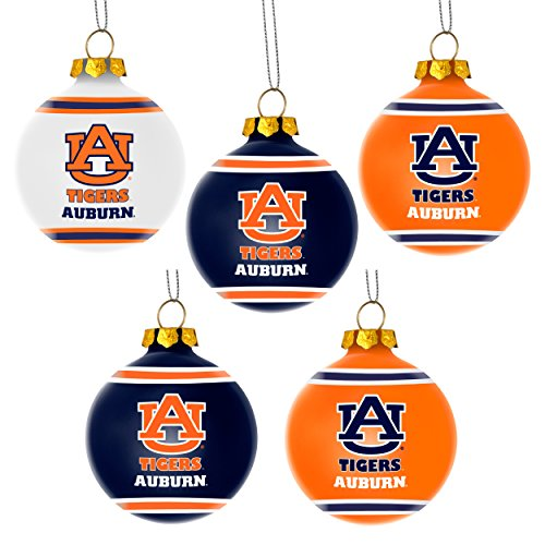 Auburn Tigers Official NCAA 3 inch Plastic Christmas Ball Ornament 5 Pack by Forever Collectibles 360525