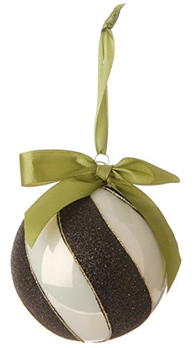 RAZ Imports – Natural Elegance – 4″ Swirled Black and White Ball Christmas Tree Ornament