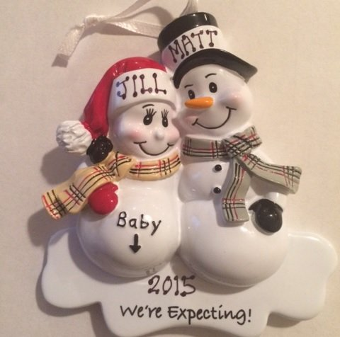 Mom & Dad We're Expecting Snowmen Personalized Christmas Ornament- Pregnant