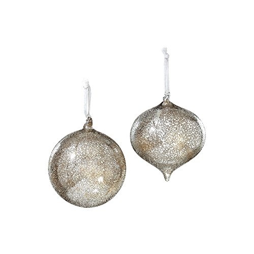 Sage & Co. XAO13853SV Iced Glass Onion Ball Ornament, 4-Inch