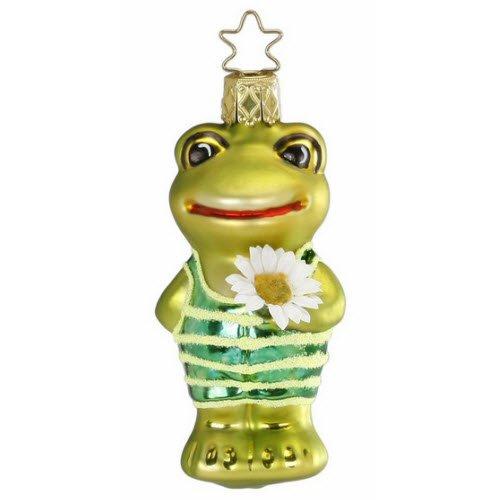 "Inge Glas Frog Ornament ""Fashionable Daisy"" 1-067-14"