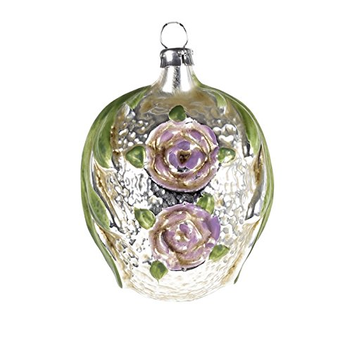 "Vintage mouthblown Christmas Glass ornament ""Leafes and Roses"", violet by MAROLIN® Germany"