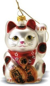Hawaiian Glass Christmas Ornament Maneki Neko
