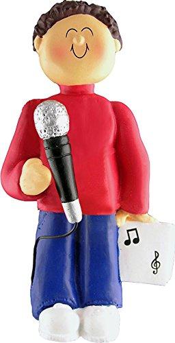Music Treasures Co. Male Musician Microphone Ornament (Brown Hair)