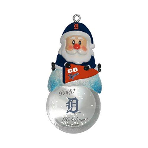 MLB Detroit Tigers Snow Globe Ornament, Silver, 1.5″