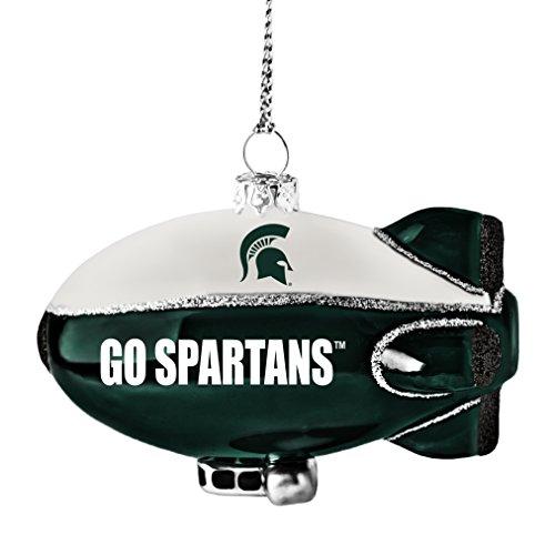 NCAA Michigan State Spartans Glitter Blimp Ornament, Silver, 3″ x 2.25″