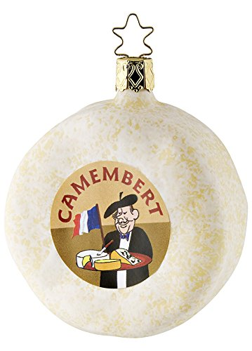Inge Glas French Camembert Cheese Mouth Blown Glass German Christmas Ornament