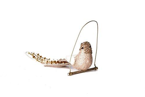Martha Stewart Christmas Collection Decor Set of 4 Bird Ornament Brown