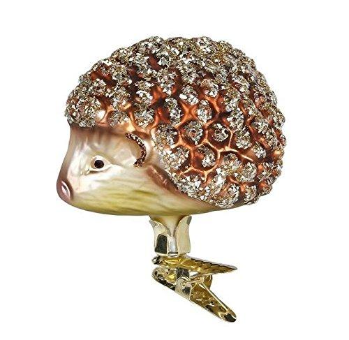 Inge Glas Hedgehog German Mouth Blown Glass Clip On Christmas Ornament