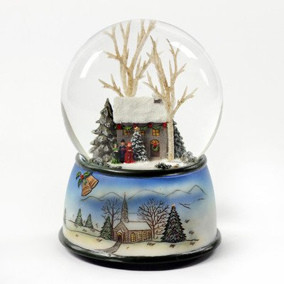 Winter Cottage with Carolers Snow Globe