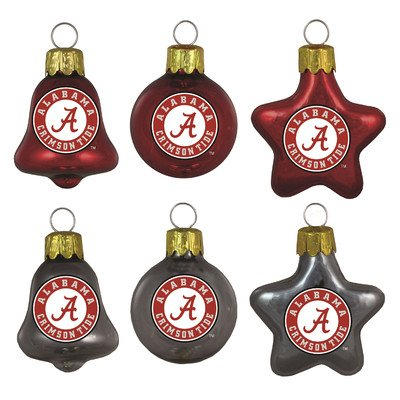 NCAA Alabama Crimson Tide 6-Pack Mini Glass Ornaments including Bells, Miniature, Red