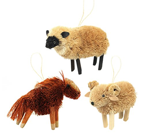 Martha Stewart Bristle Brush Farmyard Horse, Ram, and Sheep Buri Animal Ornaments (Set of 3)