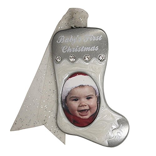 Gloria Duchin White Stocking Photo Christmas Tree Ornament with Baby's First Christmas