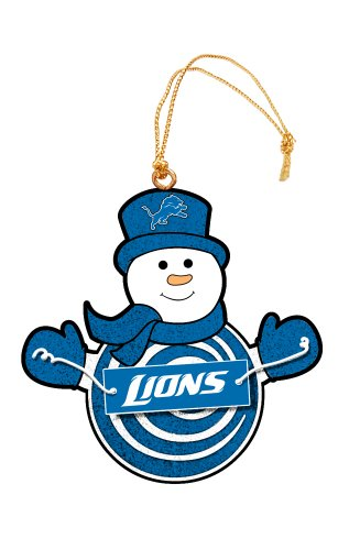 Detroit Lions Snowman with Sign Ornament