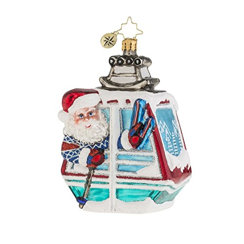 Christopher Radko Santa on the Slopes Glass Christmas Ornament – 4.25″h.