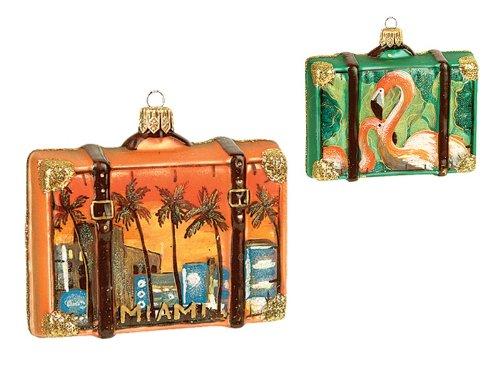 Miami Florida Travel Suitcase Polish Mouth Blown Glass Christmas Ornament