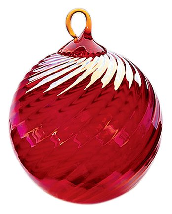 Iridescent Glass Eye Studio Hand Blown Ball Ornament, Ruby Twist