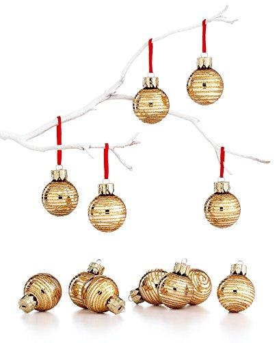 Martha Stewart Gold Mini Metallic Glitter Glass Christmas Tree Ornaments (Set of 12)