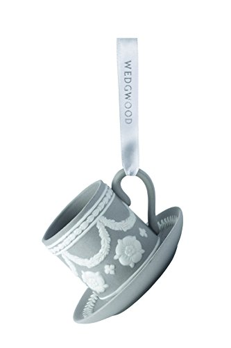 Wedgwood Teacup and Saucer Christmas Ornament, Grey