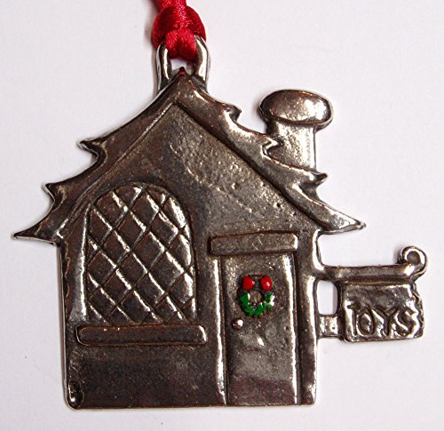 Pewter Santas Toy Shop Christmas Ornament~Fine Pewter~Made in USA!