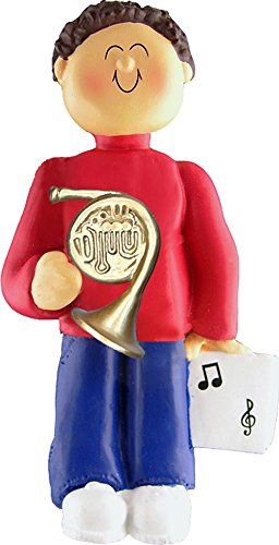Music Treasures Co. Male Musician French Horn Ornament (Brown Hair)