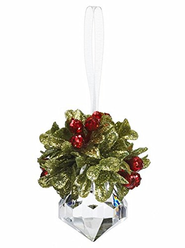 "GANZ 2.5 ""Kyrstal Kiss Ball Ornament, Teeny Mistletoe Jewel – Wedding Acrylic Kissing Crystal-like KK243"