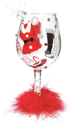 Lolita Love My Wine Glass Christmas Ornament Hot Mama Claus