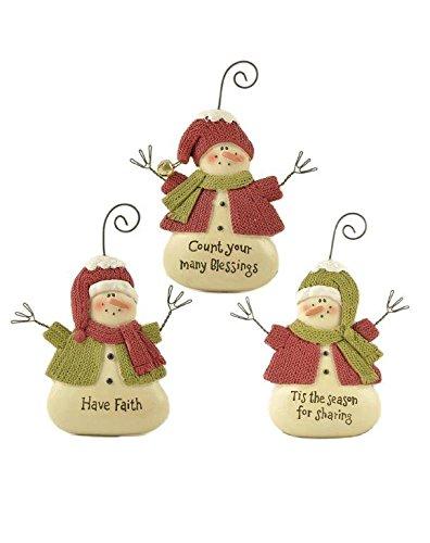 Blossom Bucket Faith/Blessing/Sharing Snowmen Ornaments Christmas Decor (Set of 3), 4″ High