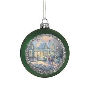Enesco Thomas Kincaid Painter of Light Christmas Cottage Ornament, 3.5-Inch