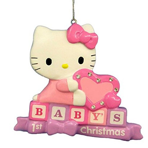 Baby's First Hello Kitty Christmas Tree Ornament Personalizable Holiday Cat