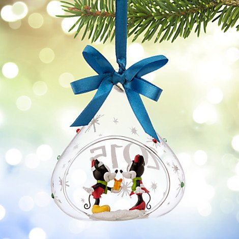 Disney's Mickey and Minnie Mouse Glass Drop Sketchbook Ornament — 2015 Edition