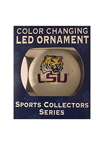 NCAA LSU Tigers LED Color Changing Ball Ornament, 2.625″, White