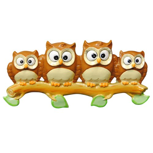 Owl Family on Branch 4 Personalized Christmas Ornament
