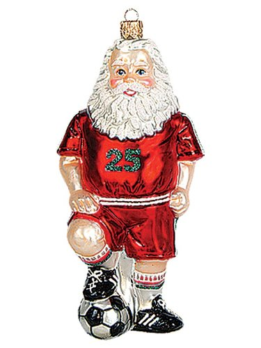 Soccer Player Santa Claus Polish Mouth Blown Glass Christmas Ornament