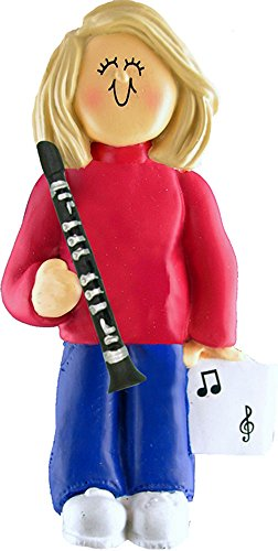 Music Treasures Co. Female Musician Clarinet Ornament – Blonde