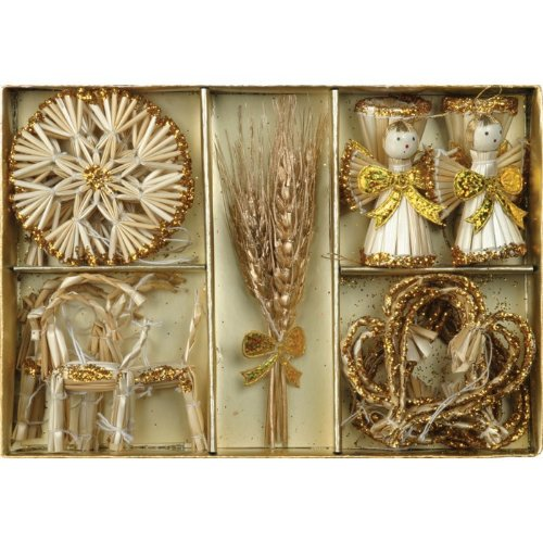 Christmas Straw Ornaments – Set of 12 pieces, Gold Accents