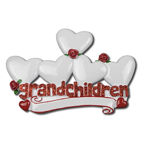 Grandchildren with 5 Hearts Personalized Christmas Tree Ornament