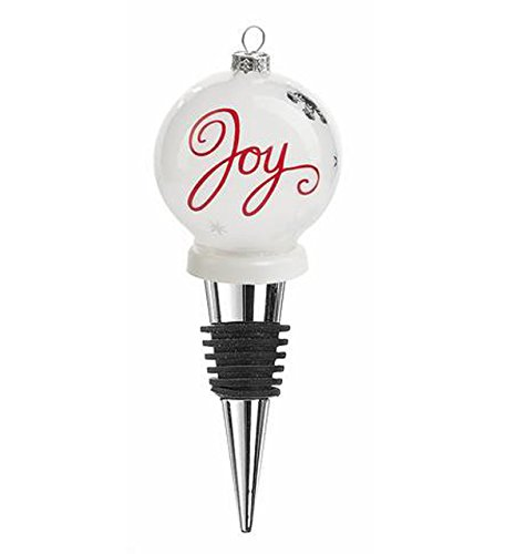 Frosted Glass Joy Ornament Wine Bottle Topper – By Ganz