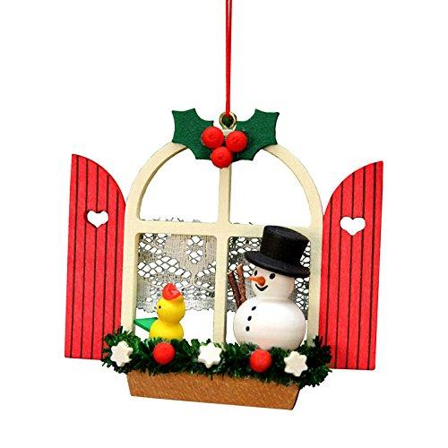 "10-0571 – Christian Ulbricht Ornament – Window with Snowman – 2.75″""H x 3″""W x 1″""D"